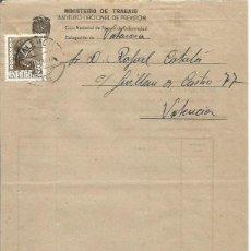 Sellos: INST. NACIONAL DE PREVISIÓN. COTIZACIÓN. VALENCIA. FRANCO 5CTS. 8 DE ABRIL 1949 .. Lote 89005856