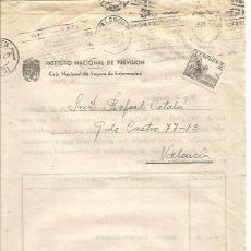Sellos: INST. NACIONAL DE PREVISIÓN. COTIZACIÓN. VALENCIA. EL CID 5CTS. 14 DE ENERO 1941. . Lote 89006028