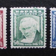 Sellos: ESPAÑA 1946, II CENTENARIO DEL NACIMIENTO DE GOYA, EDIFIL 1005 AL 1007 (**). Lote 89697904