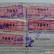 Sellos: BARCELONA. CNS. 1941. 11 CUOTAS 4 PESETAS. SINDICATO LOCAL DE HOSTELERÍA Y SIMILARES. TAMPONES. Lote 93782650