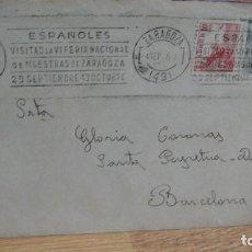 Sellos: SOBRE FRANQUEADO - RODILLO DE LA FERIA DE LA VI MUESTRAS DE ZARAGOZA AÑO 1946. Lote 93787255