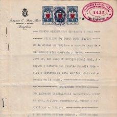 Sellos: 1949 PAMPLONA. 3 SELLOS 2 PTS Y 2 DE 1PTA DIPUTACION DE NAVARRA EN ESCRITURA DOCUMENTO FISCAL POLIZA. Lote 94520762