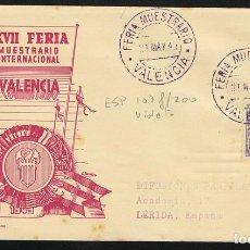 Sellos: ESPAÑA 1949 SOBRE - FERIA DE MUESTRAS / VALENCIA. Lote 95291450