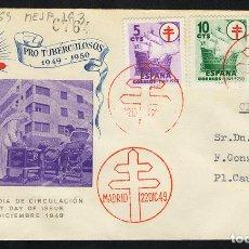 Sellos: ESPAÑA 1949 SOBRE - PRIMER DÍA. MATASELLO PROTUBERCULOSOS / MADRID EN ROJO. Lote 95291519