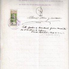Sellos: 1939 MIRALCOMP COLEGIO NOTARIAL CATALUÑA MUTUALIDAD HABILITADO 2 PS SELLO FISCAL 50 CS ARRIBA ESPAÑA. Lote 95863623