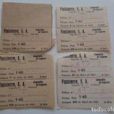 Sellos: FINISTERRE. S.A., LOTE 7 CUPONES DE PAGO DE PRIMA DE POLIZA DE SEGURO. 1,40 PTAS. AÑOS 46-47-48. Lote 96020887