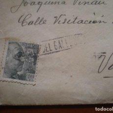Sellos: CARTA O SOBRE CIRCULADA CON MARCA LINEAL GURREA DE GALLEGO, HUESCA, AÑOS 40. Lote 97392407