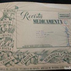 Sellos: SOBRE GRANDE CON FRANQUEO CONCERTADO. REVISTA MEDICAMENTA. PUBLICIDAD FARMACIA. . Lote 97432035