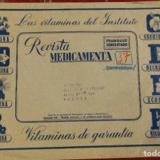 Sellos: SOBRE GRANDE CON FRANQUEO CONCERTADO. VITAMINAS. REVISTA MEDICAMENTO. FARMACIA. PUBLICIDAD.. Lote 97432983
