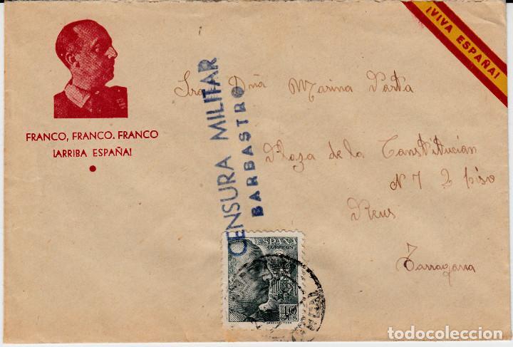 CARTA ILUSTRADA CON FRANCO ARRIBA ESPAÑA Y CENSURA MILITAR DE BARBASTRO (Sellos - España - Estado Español - De 1.936 a 1.949 - Cartas)