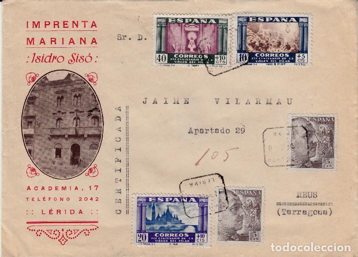 SOBRE PUBLICITARIO DE IMPRENTA MARIANA DE ISIDRO SISÓ EN LLEIDA -1940- SELLOS CENT.VIRGEN PILAR (Sellos - España - Estado Español - De 1.936 a 1.949 - Cartas)
