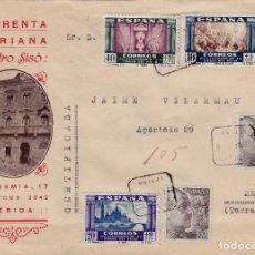 Sellos: SOBRE PUBLICITARIO DE IMPRENTA MARIANA DE ISIDRO SISÓ EN LLEIDA -1940- SELLOS CENT.VIRGEN PILAR. Lote 98127991