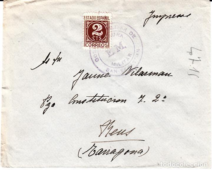 SOBRE CON SELLO DEL GOBIERNO MILITAR DE SAN SEBASTIAN MATASELLANDO EL SELLO (Sellos - España - Estado Español - De 1.936 a 1.949 - Cartas)