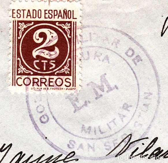 Sellos: SOBRE CON SELLO DEL GOBIERNO MILITAR DE SAN SEBASTIAN MATASELLANDO EL SELLO - Foto 2 - 98128087