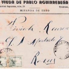 Sellos: SOBRE COMERCIAL DE VIUDA DE PABLO AGUIRREBEÑA EN MIRANDA DE EBRO -BURGOS-. Lote 98669647