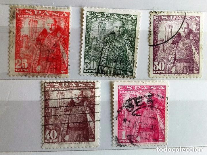 ESPAÑA 1948, 5 SELLOS USADOS DIFERENTES DE FRANCO CASTILLO DE LA MOTA (Sellos - España - Estado Español - De 1.936 a 1.949 - Usados)