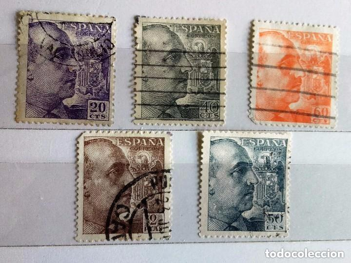 ESPAÑA 1945, 5 SELLOS USADOS DIFERENTES DE FRANCO DE PERFIL (Sellos - España - Estado Español - De 1.936 a 1.949 - Usados)