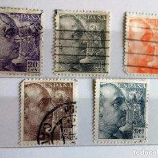 Sellos: ESPAÑA 1945, 5 SELLOS USADOS DIFERENTES DE FRANCO DE PERFIL. Lote 105718744