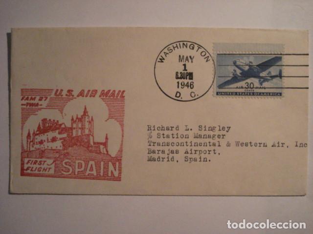 RARA CARTA PRIMER DIA 1946 - PRIMER VUELO NEW YORK MADRID - ALCAZAR DE SEGOVIA - RARA PIEZA (Sellos - España - Estado Español - De 1.936 a 1.949 - Cartas)