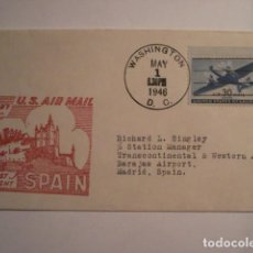 Sellos: RARA CARTA PRIMER DIA 1946 - PRIMER VUELO NEW YORK MADRID - ALCAZAR DE SEGOVIA - RARA PIEZA. Lote 99696091