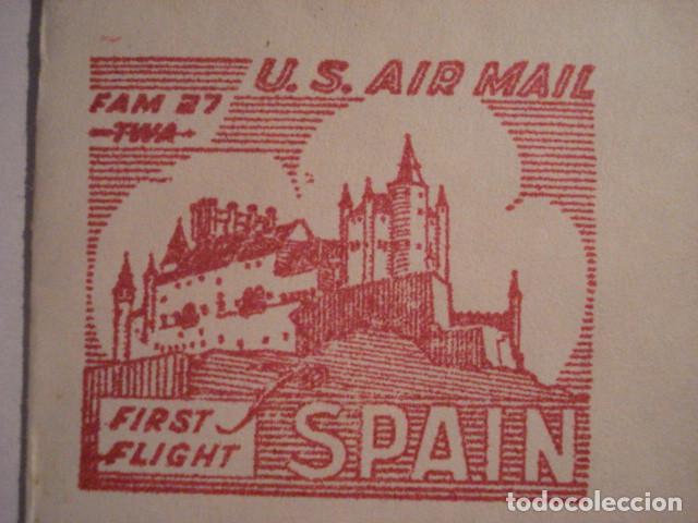 Sellos: RARA CARTA PRIMER DIA 1946 - PRIMER VUELO NEW YORK MADRID - ALCAZAR DE SEGOVIA - RARA PIEZA - Foto 3 - 99696091