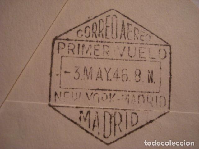 Sellos: RARA CARTA PRIMER DIA 1946 - PRIMER VUELO NEW YORK MADRID - ALCAZAR DE SEGOVIA - RARA PIEZA - Foto 4 - 99696091