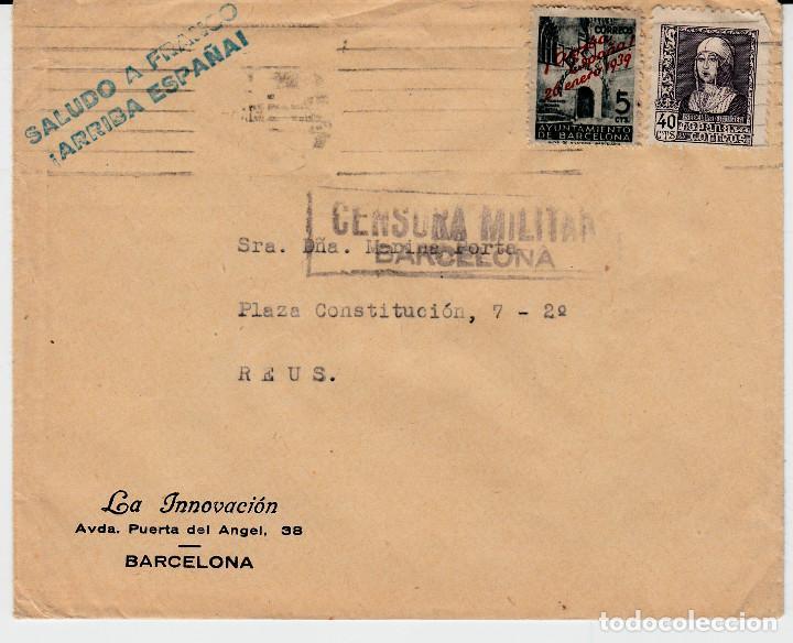 CARTA DE LA INNOVACIÓN EN BARCELONA CON CENSURA MILITAR Y SALUDO A FRANCO (Sellos - España - Estado Español - De 1.936 a 1.949 - Cartas)