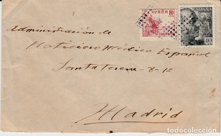 CARTA CON MATASELLOS DE ROMBO Y ESTRELLA , AL DORSO FRANQUICIA DE SANIDAD DE PALENCIA 1942 (Sellos - España - Estado Español - De 1.936 a 1.949 - Cartas)