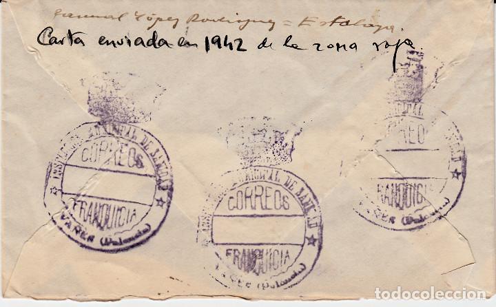 Sellos: CARTA CON MATASELLOS DE ROMBO Y ESTRELLA , AL DORSO FRANQUICIA DE SANIDAD DE PALENCIA 1942 - Foto 2 - 99750795