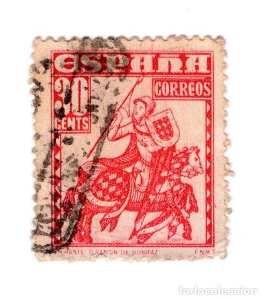 ESPAÑA 1948 ALMIRANTE BONIFAZ 30 CÉNTIMOS ROJO USADO (Sellos - España - Estado Español - De 1.936 a 1.949 - Usados)