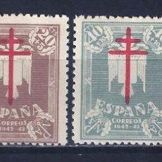 Sellos: EDIFIL 957-960 PRO TUBERCULOSOS 1942 (SERIE COMPLETA). MNH **. Lote 100215715