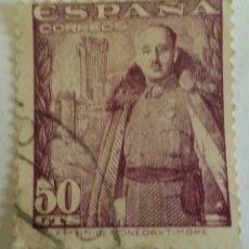 Sellos: SELLO GENERAL FRANCISCO FRANCO BAHAMONDE Y EL CASTILLO DE LA MOTA 1948. 50 CTS. Lote 101072392