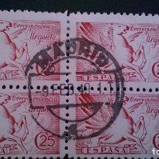 Sellos: 1942 - EDIFIL 952 - PEGASO - BLOQUE DE 4 - EXCELENTE FECHADOR MADRID - RARO SE ENCUENTRA NUEVO CON G. Lote 101153103