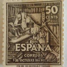 Sellos: SELLO DE 50 CTS. 9 DE OCTUBRE DÍA DEL SELLO. CENTENARIO DEL NACIMIENTO DE CERVANTES. Lote 101373610