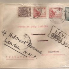 Sellos: 1939 SOBRE CIRCULADO DE SEVILLA A LONDRES (ESPAÑOLA + INGLESA). Lote 101652855