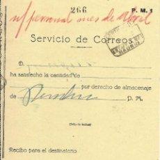 Sellos: 1938 RESGUARDO GIRO POSTAL ESTAFETA Nº 1 MADRID . Lote 102540759