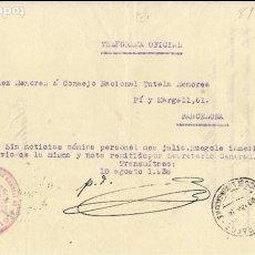 Sellos: 1938 TELEGRAMA OFICIAL JUEZ TUTELAR DE MENORES DE MADRID. Lote 102541311