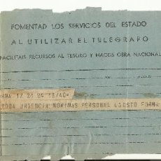Sellos: 1938 TELEGRAMA RECLAMANDO NOMINAS PERSONAL MINISTERIO JUSTICIA. Lote 102543451