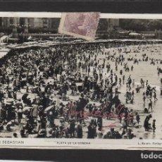 Sellos: POSTAL 15. SAN SEBASTIAN ( GUIPUZCOA) ROISIN AÑO 1937-PLAYA LA CONCHA- CON ¡¡ VARIAS CENSURAS¡¡. Lote 102958183