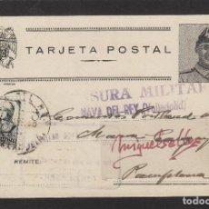 Sellos: TARJETA POSTAL PATRIÓTICA DE NAVAS (VALLADOLID) A PAMPLONA AÑO 1938 CENSURA MILITAR NAVA DEL REY. Lote 102968767