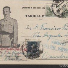 Sellos: TARJETA POSTAL PATRIÓTICA DE ZAMORA A BARCELONA AÑO 1939 CENSURA MILITAR ZAMORA MAT AMBULANTE DORSO. Lote 102969239