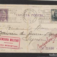 Sellos: TARJETA POSTAL PATRIÓTICA DESTINO COMISARIA DE GUERRA SEGOVIA AÑO 1937 CENSURA MILITAR SAN SEBASTIAN. Lote 102970295