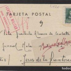Sellos: TARJETA POSTAL DESTINO JEREZ DE LA FRONTERA AÑO 1938 CENSURA MILITAR SAN SEBASTIAN. Lote 102970507