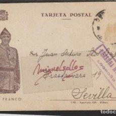 Sellos: TARJETA POSTAL PATRIÓTICA DESTINO SEVILLA 1937 -CENSURA MILITAR LOGROÑO ( LA RIOJA ) . SIN SELLO. Lote 102971235