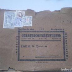Sellos: CARTA O SOBRE, SIN DERECHO A INDEMNIZACION, CERTIFICADO, BUGARRA (VALENCIA) A LIRIA. Lote 103352851