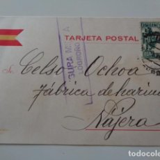 Sellos: LOGROÑO A NÁJERA. POSTAL COMERCIAL. 1937. GUERRA CIVIL. BONITA POSTAL PATRIOTICA. CENSURA MILITAR. Lote 103352955
