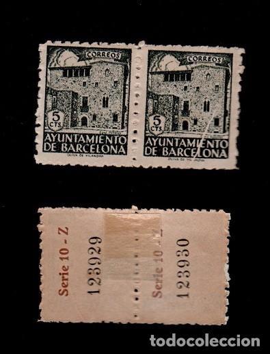 00A3-10-1 AYUNTAMIENTO BARCELONA CASA PADELLAS EDIFIL Nº 46 PAREJA CON VARIEDAD POR DEFECTO DE CLICH (Sellos - España - Estado Español - De 1.936 a 1.949 - Nuevos)