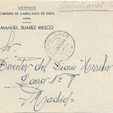 Sellos: FRONTAL CORREOS CARTERIA DE CABRILLANES DE BABIA LEON FRANQUICIA 1946. Lote 103883571