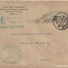 Sellos: CARTA MATASELLO FRANQUICIA CRUZ ROJA HOSPITAL DISPENSARIO CAPUCHINOS SEVILLA. Lote 103885083