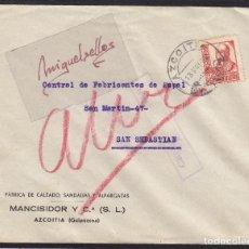 Sellos: CENSURA MILITAR AZCOITIA (GUIPÚZCOA) AÑO 1938 SOBRE MEMBRETE MANCISIDOR -FRANQUEO ISABEL . Lote 105950275